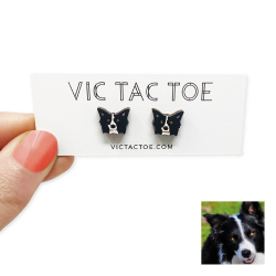 custom border collie earrings