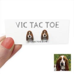 custom basset hound earrings