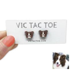 custom border collie earrings