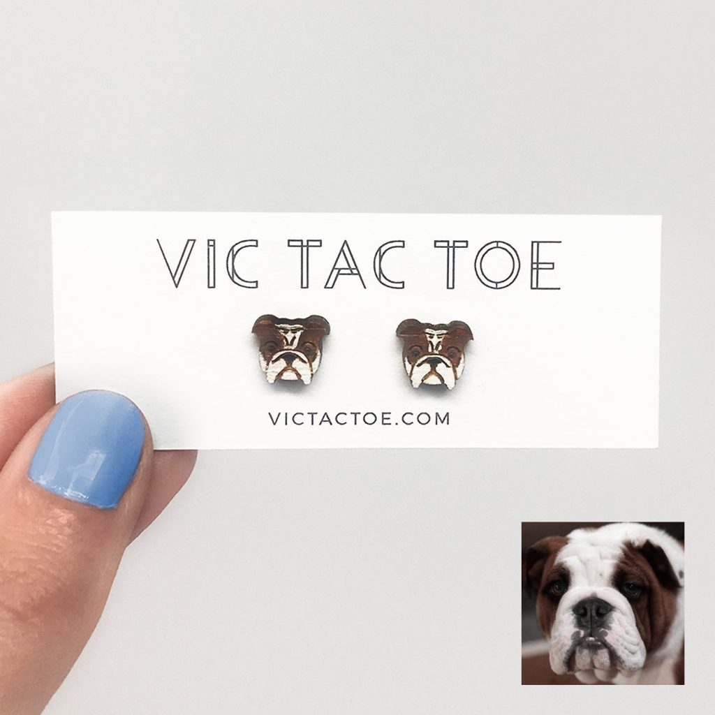 custom bulldog earrings