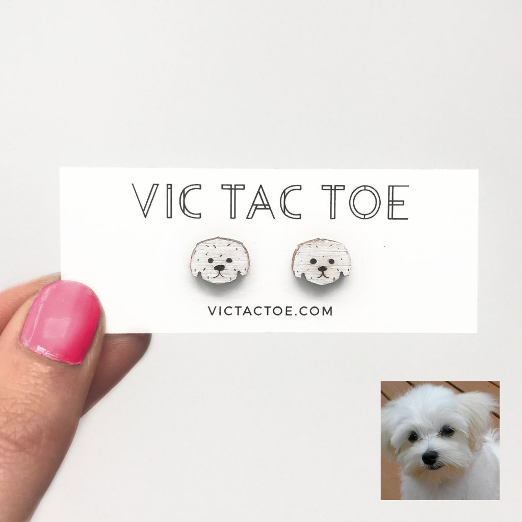 custom maltese earrings