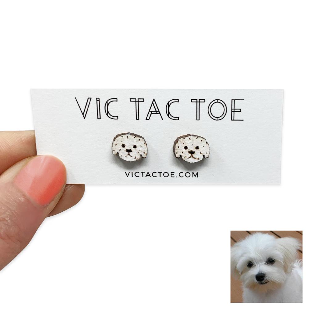 custom maltese dog earrings