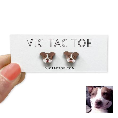 custom pitbull earrings