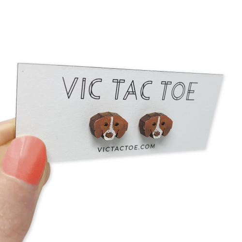 custom brittany dog earrings