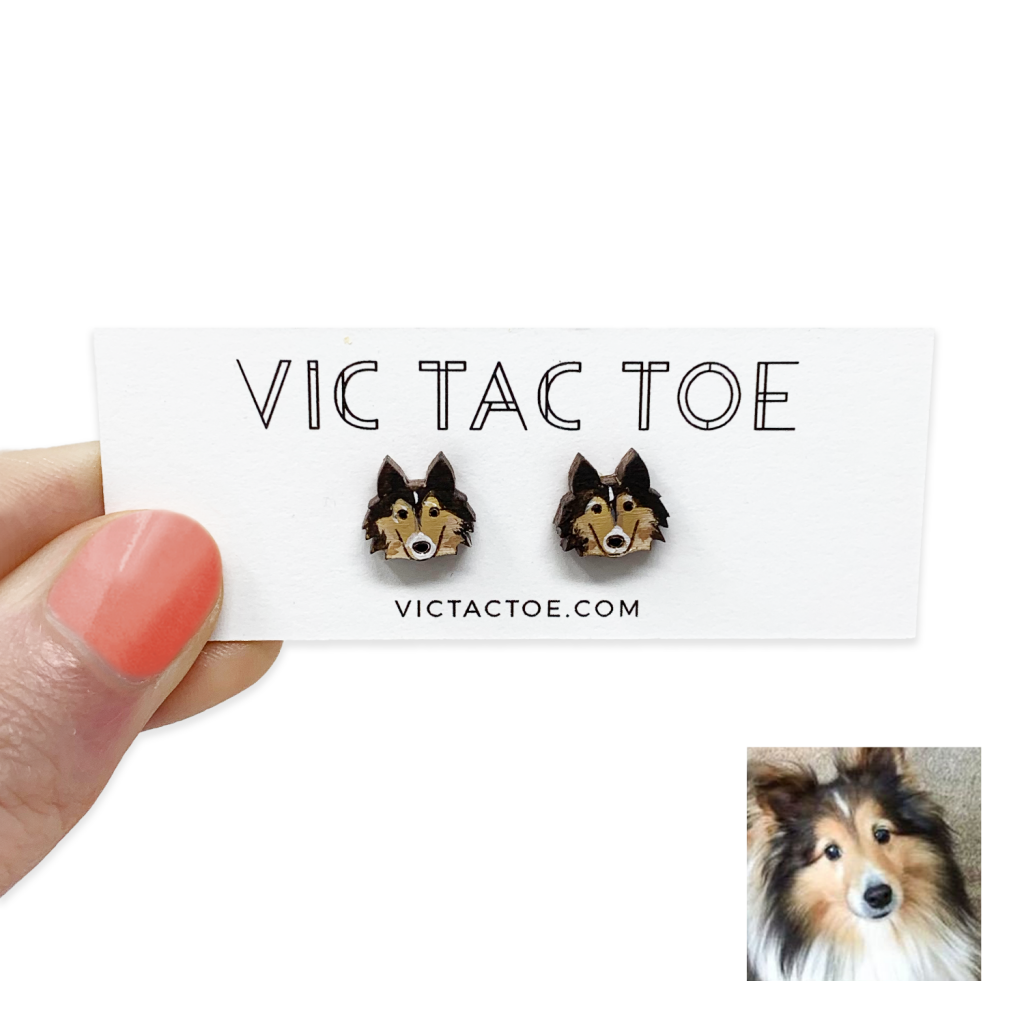custom sheltie earrings