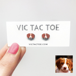 brittany dog earrings