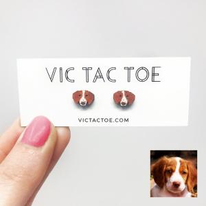 brittany dog earrings