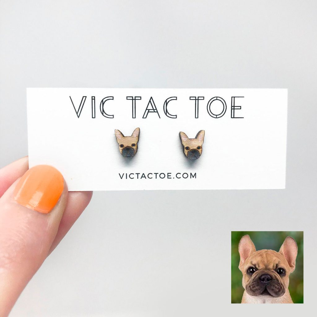 Custom French Bull Dog Earrings