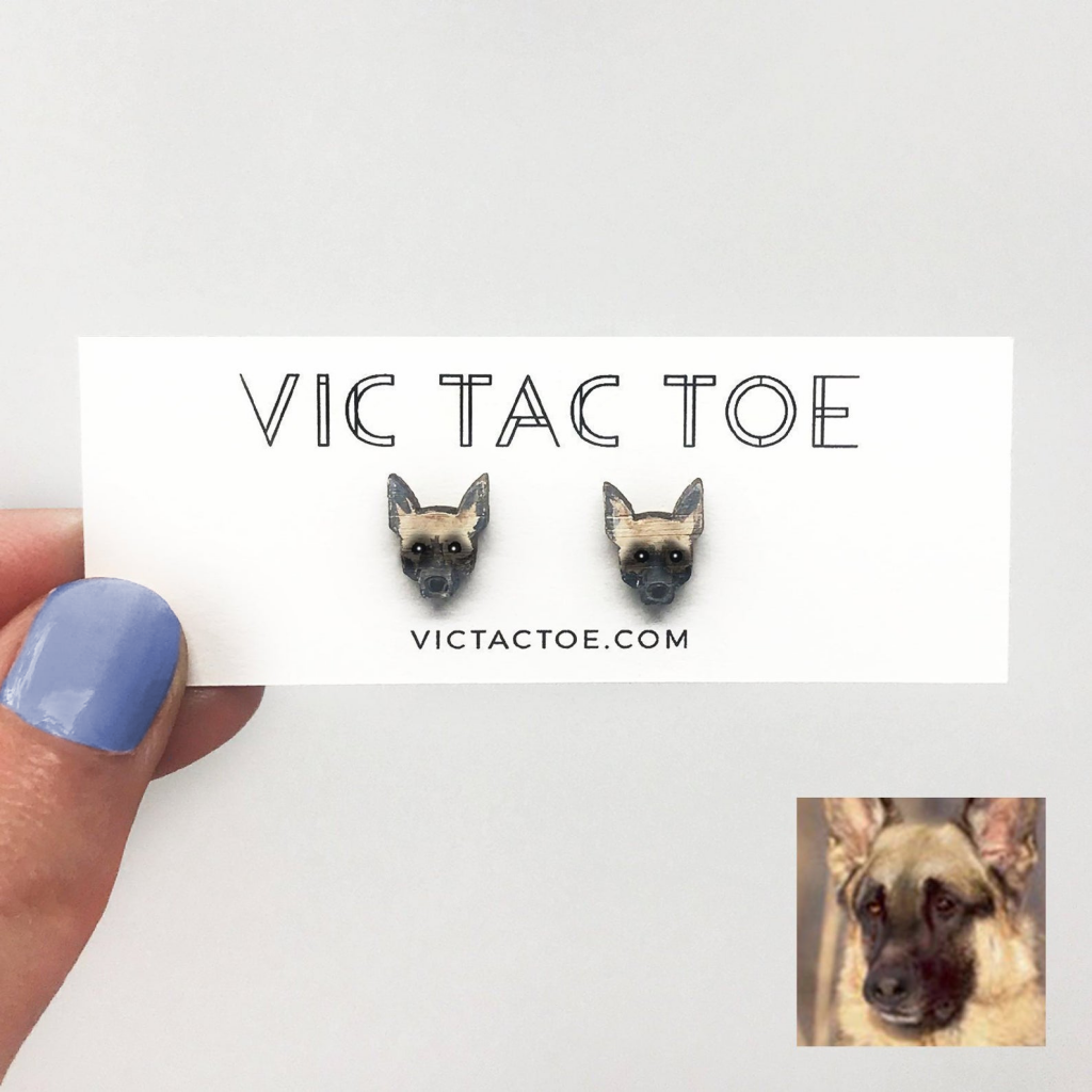 custom german shepard earrings