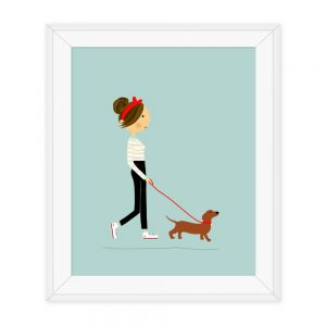 Dachshund Print, Dog Print, Dachshund Illustration Print, Dachshund wall art