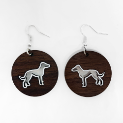 greyhound earrings, greyhound dangle earrings, greyhound wooden earrings