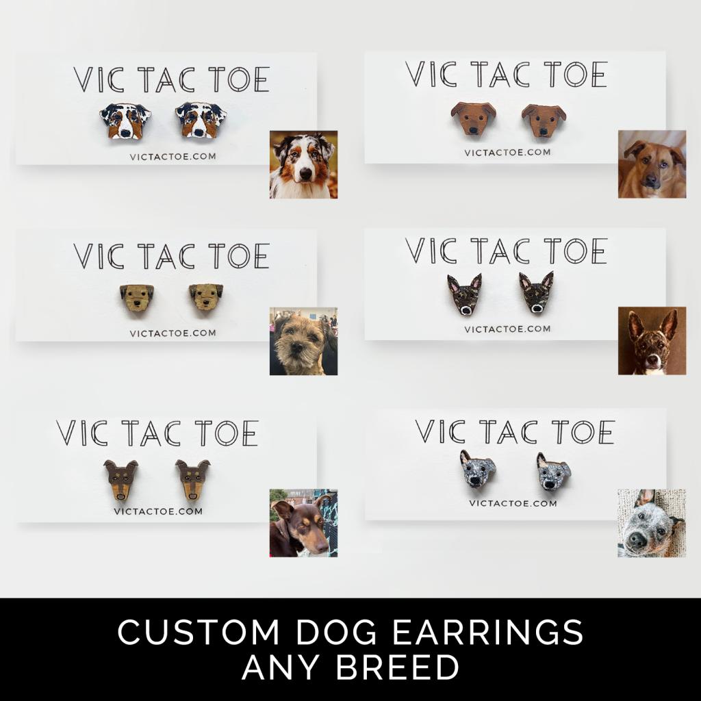 custom dog earrings, mutt earrings