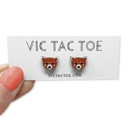 red panda earrings